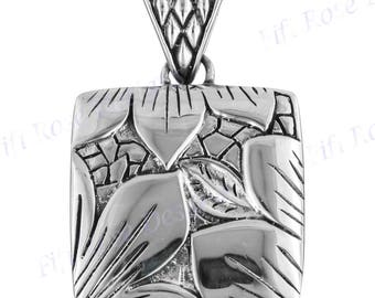 """1 1/2"""" Flower Water Lily Leaf 925 Sterling Silver Pendant"""