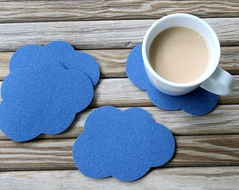 Cloud Drink Coasters Thick Wool Felt Coaster Set of coasters Unique, Cute, Fun and Absorbent Coasters for Drinks