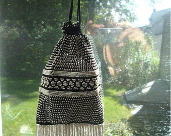 Black White Beaded PURSE, Prom Wedding, All Glass Fringes, Drawstring Formal Bag, Flapper Dance,  PERFECT Classic, Seed Beads, Gift Worthy
