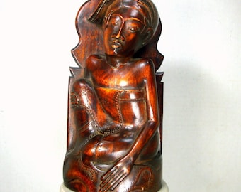 Wood Carved Sculpture, Indonesian Seated Woman Figure, Handmade Folk Art From 1980s Bali
