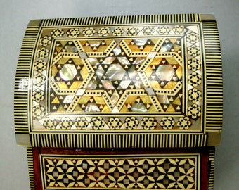 Judaica Hinged Box, Wood Inlay Jewelry Box, Abalone, OxBone, Ebony, MOP Box, Mid East Treasure Box, Stash Box, Mans Cufflink Box, So Ornate
