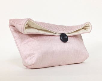 Bridesmaid Clutch, Ready to Ship Bridesmaid Gift Idea, Pale Pink Clutch Purse, Pale Pink Bridesmaid Gift, Wedding Party, Silk Clutch