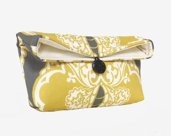 Bridesmaid Gift Idea, Yellow and Gray Clutch Purse or Makeup Bag, Personalize with Name