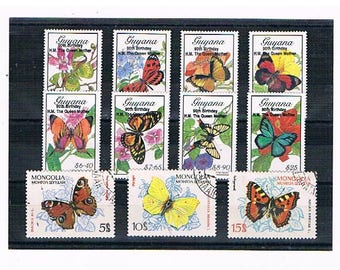 Butterflies & Flowers on Postage Stamps | red admiral, peacock butterfly etc vintage postal stamp selection | stamps for craft or collection