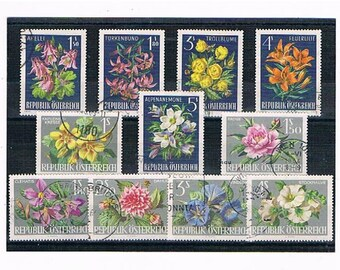 Alpine Flower Stamps, traditional vintage Austrian floral postage stamps | fire lily peony dahlia, 1960s postal stamps wedding craft supply