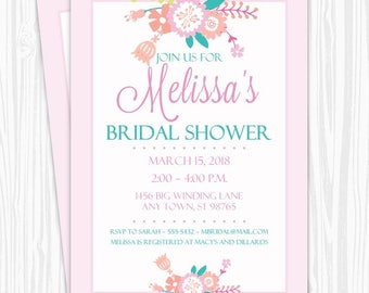 Bridal Shower Invitation, Pink and Teal Floral Invitation, CUSTOM 4x6 or 5x7 size, printable, Wedding Shower Invite
