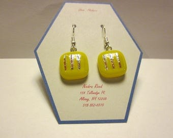 Fused glass earrings-yellow with silver dichroic stripes