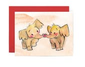 Kissing Elephant Greeting Card