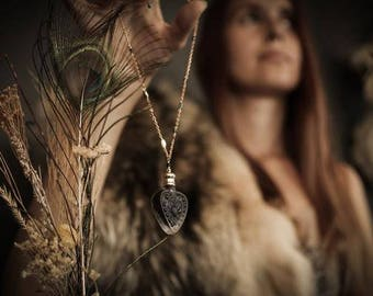 Perfume Bottle Necklace - The Heart of the Dark Forest™- A Black Forest Perfume Amulet with Your Choice Natural Perfume oil in glass heart