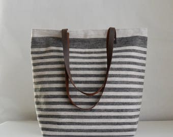 Black Mini Stripe Linen Tote Bag with Leather Handles - READY TO SHIP