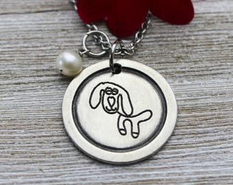 Custom Child's Artwork Madeline Pendant Necklace with your child's drawing or artwork, Fine Pewter