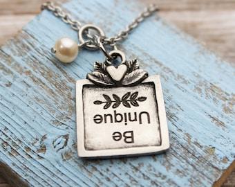 Be Unique Victorian Charm Necklace, Fine Pewter