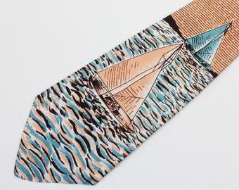"""40's / 50's Necktie / Wide Tie with Sail Boat / Orange, Blue, Brown / 4"""" wide"""