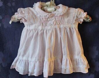 Vintage Polly Flinder's Little Girl Pink Smocked Dress 6-12 mos