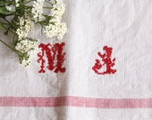D 231:  handloomed linen antique charming TOWEL napkin LAUNDERED EASTER Spring decoration 리넨