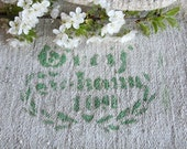 F 429:  antique timeworn GERMAN grain sack GREEN printed ,  fabric, 44.09 long,runner, upholstery project, grainsack, old linen fabric