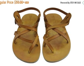 15% OFF Yellow Triple Leather Sandals For Men & Women - Handmade Sandals, Leather Flats, Leather Flip Flops, Unisex Sandals, Brown Sandals