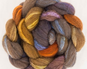 Hand dyed Shetland, Shetland, Tussah silk, Hand dyed roving, fibre, fiber, felt, spindling, felting materials, felting projects