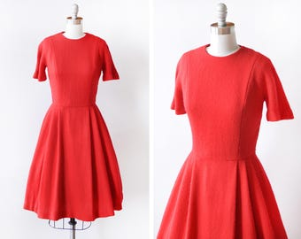 60s red wool dress, vintage 1960s dress, Valentine's Day button back wool knit tea length red dress, small to medium