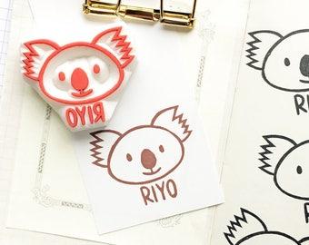 custom koala stamp | personalized name stamp | animal stationery | diy birthday | craft gift for kids | hand carved stamp by talktothesun