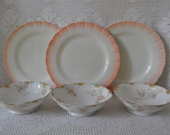 Antique Limoges Dessert Plates With Milk Glass Cake Plates/Blush Pink and Gold/Hand Painted Porcelain/Wedding Cake Dessert Plates
