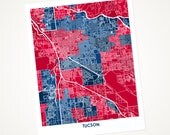 Tuscon Art Map.  Choose your colors and size.  Perfect Wall Art for your University of Arizona Wildcat.  Graduation Gift.