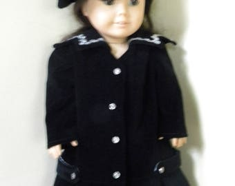 Winter coat and hat for 18 inch doll