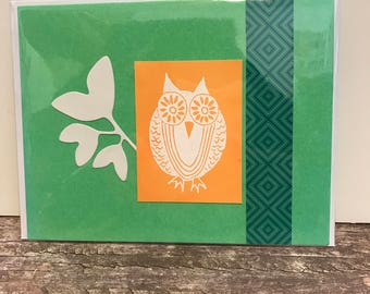 Handmade Greeting Card Owl Hello Green Orange Teal White Friendship