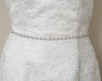 Rhinestone Wedding Gown Sash, Rhinestone Belt, Wedding Dress Crystal Sash, Crystal, Bridal Gown Sash, Ribbon Bridal Belt