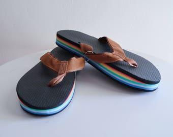 Classic brown 70s / 80s RAINBOW sole flip flops UNISEX sz. 9 / 10