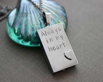 Always in my Heart Cremation Urn Pendant - Stainless Steel - Personalized memorial Charm - Can be Customized with initials or name instead