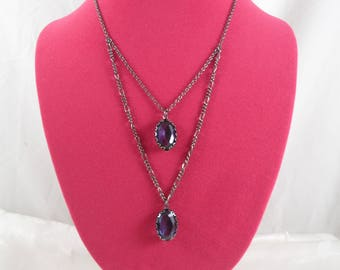 Vintage Purple Beads Y Necklace