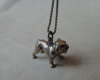 bull dog necklace charm dog pendant sterling silver bully