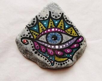 Eye, Painted Rock Art, Paper Weight, Desk Art, Great Lakes Beach Rock