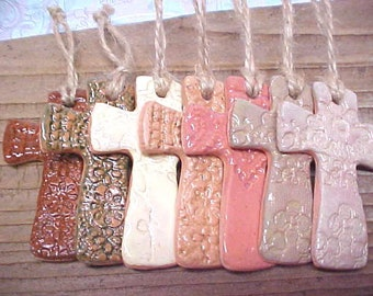Easter Cross Ornament   Rustic Pottery Cross   Small Clay Cross   Essential Oil Diffuser   Lace Imprint   Choice of Color