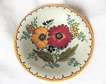Vintage Gouda Holland Pottery Compote Dish Hand Painted Folk Art Flowers