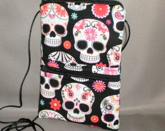 Day of the Dead - Smart Phone Purse - Passport Purse - Sling Bag - Hipster - Wallet on a String