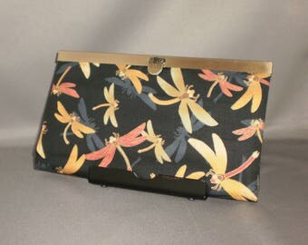 Wallet - DIVA Wallet - Clutch Wallet - Dragonfly - Coral - Gold