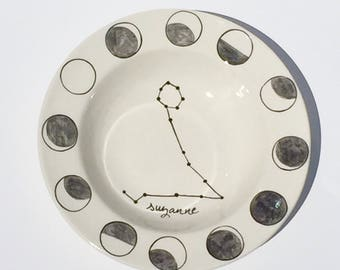 personalized hand painted astrological sign moon phases pasta bowl