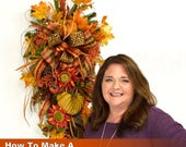 ON SALE Video How To Make a Fall Teardrop Swag Wreath Full Length Downloadable Video, How to Make a Swag Wreath