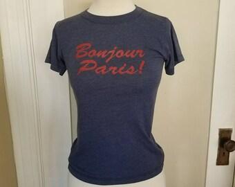 Vintage Bonjour Paris! Navy blue t-shirt 50/50 size small.