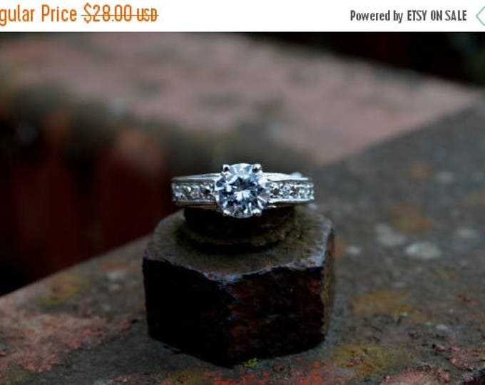 sale Vintage Style Solitaire Ring, Engagement Ring, Cubic Zircon Ring, White Gold, White Brass Rhodium, Fashion Ring, Faux Diamond,