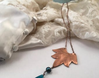 End of Summer SALE Lotus Blossom Necklace with Swarovski crystal and Sea Glass Drop  - Copper, Bronze or Sterling