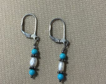 Handmade Earrings - Turquoise and Freshwater Pearls - Pierced