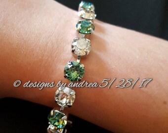 Swarovski Crystal Bracelet - Clear Crystal and Erinite Green - 8 mm stone size