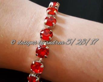 Crystal Bracelet - Light Siam Swarovski Crystals - 8 mm stone size