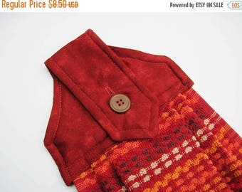Summer Sale Hanging kitchen towel  button top Southwest colors rust orange brown white  Quiltsy handmade