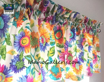 Rainbow Sunflowers Summer Valance Classroom School Room Curtain Window Treatment by Idaho Gallery