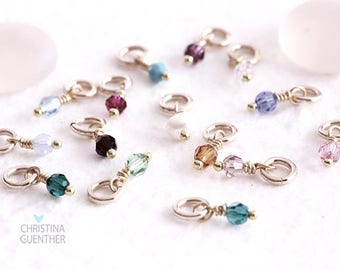 Add A Birthstone Dangle Charm Swarovski Crystal with Gold Filled, Personalized Hand Stamped Name Jewelry, Gifts for Her, Christina Guenther