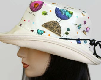 Sunblocker UV summer hat cotton sun hat with large wide brim featuring fun chicken print with adjustable fit